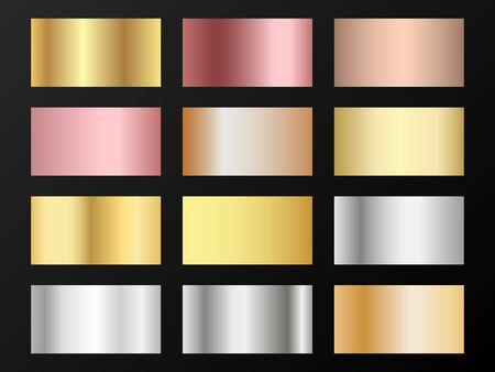 Cool golden, platinum, bronze, pink gold gradients. Metallic foil texture silver, steel, chrome, platinum, copper, bronze, aluminum, pink gold gradient swatches.  Stylish metallic swatches set.  イラスト・ベクター素材