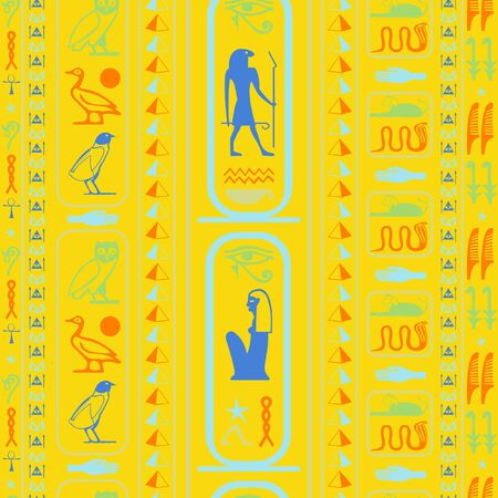 Ancient egypt writing seamless background. Hieroglyphic egyptian language symbols tile. Repeating ethnical fashion graphic design for interior decor. Ilustrace