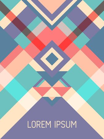 Cover page layout vector template geometric design with triangles and stripes pattern for business purposes. Ethnic mexican motifs. Striped bauhaus pattern vector cover design. Trendy geometry.