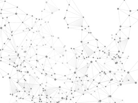 Geometric plexus structure cybernetic concept. Network nodes greyscale plexus background. Gene manipulation concept. Coordinates structure grid shape vector. Circle nodes and line elements.