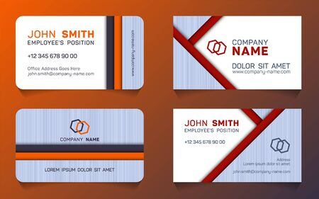 Horizontal business card minimal idea vector templates set. Personal business card graphic design, employees name, position, mobile number, web address, company mane, e-mail. Illustration