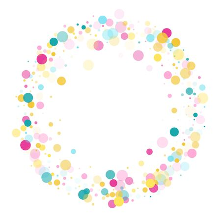 Memphis round confetti carnival background in blue, crimson and yellow on white.  Childish pattern vector, children's party birthday celebration background.  Holiday confetti circles in memphis style.