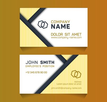Stylish business card minimal idea vector templates set. Modern business card graphic design with place for logo, employees name, position, mobile number, website and company office address.  イラスト・ベクター素材