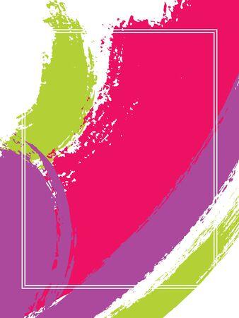 Cadre vertical avec fond de coups de pinceau. Modèle de conception graphique pour carte. Cadre rectangulaire de bordure de vecteur avec toile de fond de coups de pinceau d'encre peinte colorée, texture aquarelle.