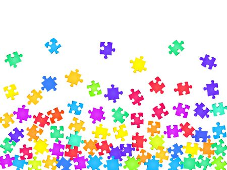 Game tickler jigsaw puzzle rainbow colors parts vector illustration. Scatter of puzzle pieces isolated on white. Problem solving abstract concept. Kids building kit pattern.