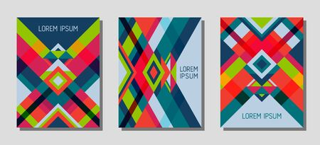 Set of cover page layouts, vector templates geometric design with triangles and stripes. Festive brazil motifs. Bauhaus pattern vector covers design. Modern rhombus stripe triangle shapes.