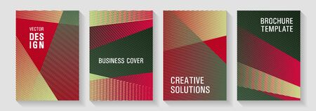 Geometric banner vector backgrounds. Thin stripes blend covers design set. Rectangle leaflet box cards. Simple annual report mockusp. Colorful halftone gradients for web.