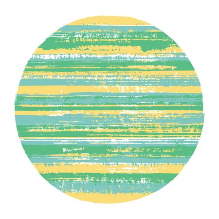 Retro circle vector geometric shape with striped texture of paint horizontal lines. Old paint texture disk. Label round shape circle logo element with grunge background of stripes.