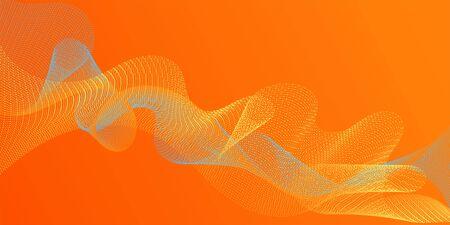 Fiber lines geometric simple background. Contemporary vector graphics with bent waves. Uneven curl lines ripple texture design. Scientific researches dynamic curves web trendy background. Ilustração