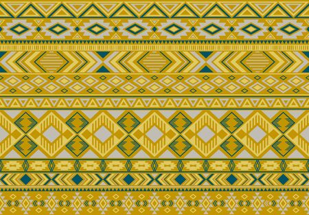 Indonesian pattern tribal ethnic motifs geometric seamless vector background. Rich ikat tribal motifs clothing fabric textile print traditional design with triangle and rhombus shapes. Illusztráció
