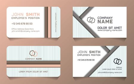 Horizontal business card minimal idea vector templates set. Flat business card graphic design with place for logo, employees name, position, mobile number, website and company office address.