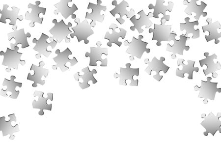 Abstract teaser jigsaw puzzle metallic silver pieces vector background. Top view of puzzle pieces isolated on white. Success abstract concept. Jigsaw pieces clip art. Archivio Fotografico - 131840742