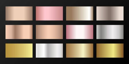 Silver, platinum, bronze, rose gold vector metallic gradients. Buttons set. Smooth chrome, alloy, aluminum, titanium, copper, silver, yellow and pink gold, platinum, steel, bronze background swatches. Ilustrace