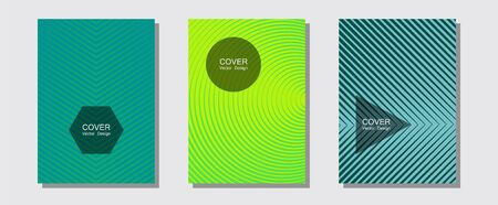 Halftone flat patterns abstract vector set. 2d grid composition. Halftone lines music poster background. Minimal booklets. Geometric covers of lines gradient flat patterns. Ilustracja