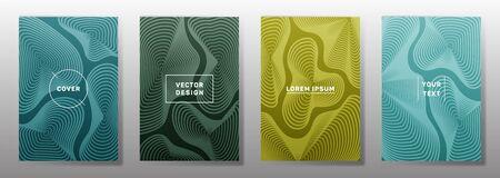 Simple cover templates set. Fluid curve shapes geometric lines patterns. Geometric backgrounds for catalogues, business magazine. Line stripes graphics, title elements. Cover page templates.