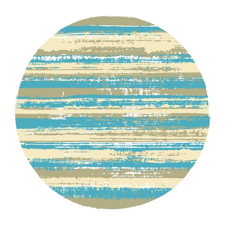 Rough circle vector geometric shape with striped texture of ink horizontal lines. Disc banner with old paint texture. Emblem round shape circle logo element with grunge background of stripes. Ilustracja