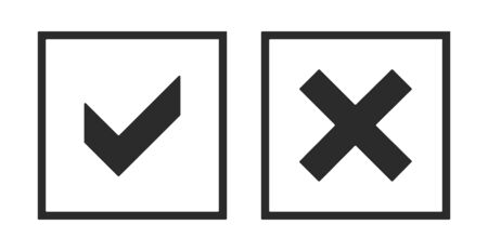 Acceptance and rejection symbol vector buttons for vote, election choice. Square frame borders. Symbolic gray yes and no OK and X icon isolated on white.Tick and cross signs, checkmarks design.