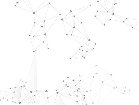Social media communication digital concept. Network nodes greyscale plexus background. Global social media network space vector. Information analytics graphics. Interlinkes nodes cells random grid.