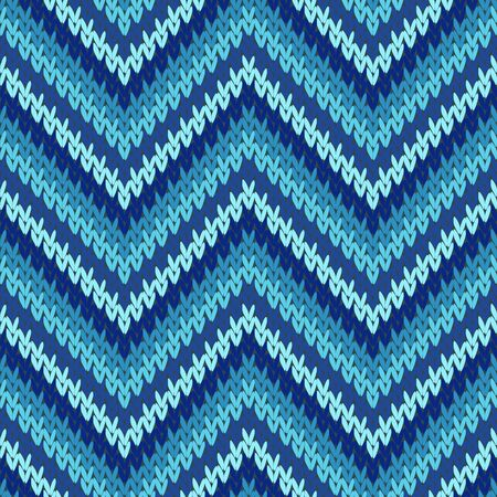 Cool zigzag chevron stripes knit texture geometric seamless pattern. Blanket knit tricot  fabric print. Fashionable seamless knitted pattern. Abstract xmas wallpaper.