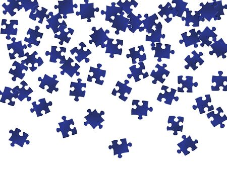 Business crux jigsaw puzzle dark blue pieces vector background. Top view of puzzle pieces isolated on white. Cooperation abstract concept. Game and play symbols.