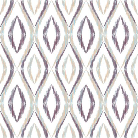 Ikat ogee seamless vector pattern design. Ethnic fabric print geometric ikat pattern. Wavy ogee seamless repeating background. Ethnic motifs ikat textile print design. Interior ornament. Ilustração
