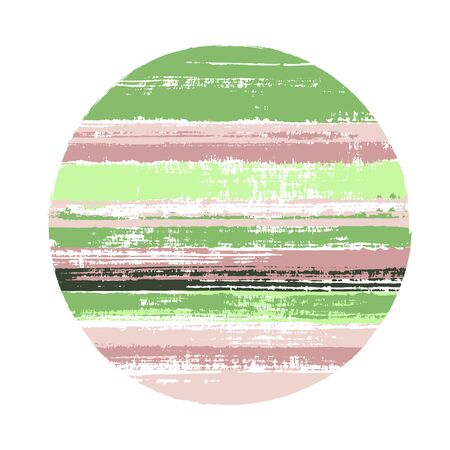 Modern circle vector geometric shape with stripes texture of paint horizontal lines. Old paint texture disc. Emblem round shape logotype circle with grunge stripes background.