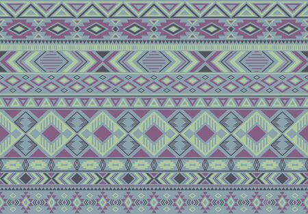 Ikat pattern tribal ethnic motifs geometric seamless vector background. Fashionable indian tribal motifs clothing fabric textile print traditional design with triangle and rhombus shapes. Ilustração