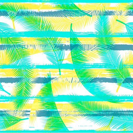 Tropical coconut palm leaves tree branches over painted stripes seamless pattern design. Brazilian jungle foliage swimwear textile print. Geometric floral tropical leaves seamless. Ilustração