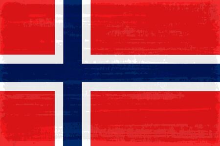 Norway national flag isolated vector illustration. Travel map design graphic element. Europe county symbol. Norway flag icon with grunge texture. Flat flag of Norway with blue white cross over red Çizim