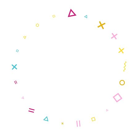 Memphis style geometric confetti vector background with triangle, circle, square shapes, zigzag and wavy line ribbons. Festive 90s style bauhaus pink blue gold party confetti flying on white.