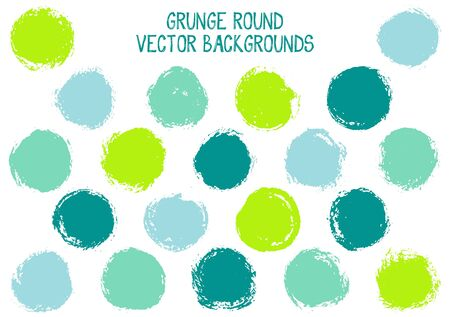 Vector grunge circles isolated. Watercolor stamp texture circle scratched label backgrounds. Circular icon, logo shape, oval button elements. Grunge round shape banner backgrounds set. Ilustração