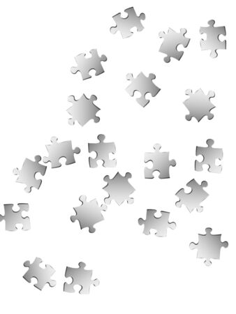 Business mind-breaker jigsaw puzzle metallic silver pieces vector background. Scatter of puzzle pieces isolated on white. Challenge abstract concept. Jigsaw pieces clip art. Ilustração