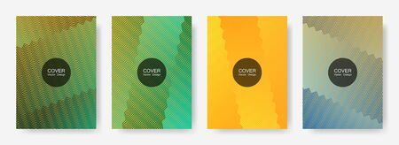 Zig zag lines halftone banner templates set, gradient stripes texture vector backgrounds for   brochure covers. Bright zig zag gradient line stripes pattern. Poster backdrops collection. Çizim