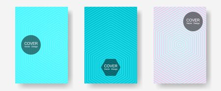 Brochure covers, posters, banners vector templates. Future mockups samples. Halftone lines annual report templates. Trendy magazines. Geometric graphic design for booklet brochure covers.