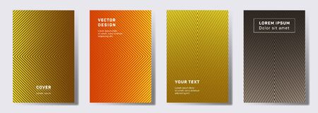 Simple cover templates set. Geometric lines patterns with edges, angles. Cool poster, flyer, banner vector backgrounds. Lines texture, header title elements. Annual report covers.  イラスト・ベクター素材
