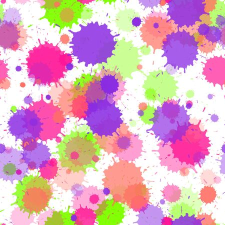 Watercolor paint transparent stains vector seamless grunge background. Graphic ink splatter, spray blots, mud spot elements seamless. Watercolor paint splashes pattern, smear liquid stains. 向量圖像
