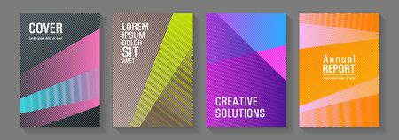 Brochure cover layouts vector geometrics. Thin stripes blend covers design set. Trendy stationery folder backgrounds. Minimal presentation backdrops. Corporate branding leaflets.