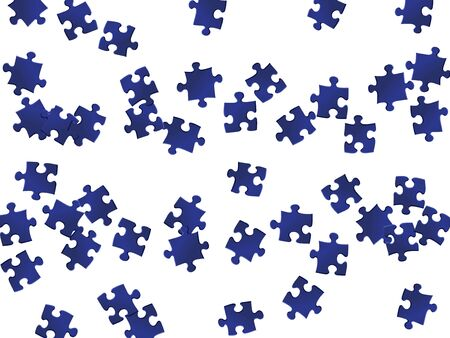 Abstract tickler jigsaw puzzle dark blue parts vector illustration. Top view of puzzle pieces isolated on white. Strategy abstract concept. Kids building kit pattern.