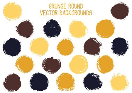Vector grunge circles design. Retro stamp texture circle scratched label backgrounds. Circular tag icon, chalk logo shape, round button elements. Grunge round shape banner backgrounds set.
