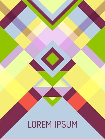 Cover page layout vector template geometric design with triangles and stripes pattern for party poster. Ethnic mexican motifs. Striped bauhaus pattern vector cover design. Trendy geometry.