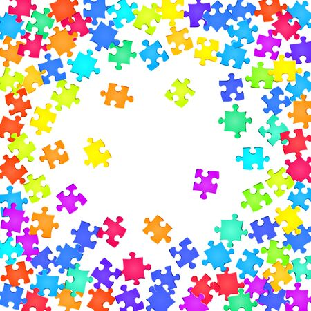 Abstract conundrum jigsaw puzzle rainbow colors parts vector illustration. Top view of puzzle pieces isolated on white. Problem solving abstract concept. Kids building kit pattern.