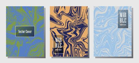 Geometric marble prints, vector cover design templates. Fluid marble stone texture iInteriors fashion magazine backgrounds  Corporate journal patterns set of liquid paint waves. Invitation cards set.