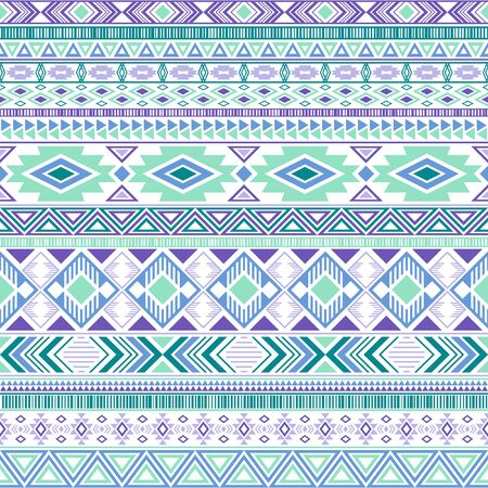 Mayan american indian pattern tribal ethnic motifs geometric seamless background. Eclectic native american tribal motifs clothing fabric ethnic traditional design. Mexican folk fashion. Ilustração
