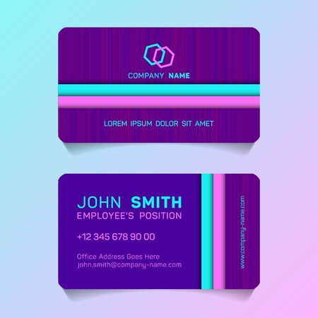 Geometric business card papercut idea vector templates set. Cool business card graphic design with place for logo, employees name, position, mobile number, website and company office address.