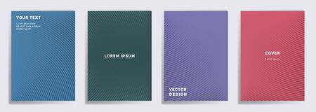Simple covers linear design. Radial semicircle geometric lines patterns. Digital backgrounds for cataloges, corporate brochures. Lines texture, header title elements. Cover page templates.