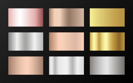 Glossy golden, platinum, bronze, pink gold gradients. Metallic foil texture silver, steel, chrome, platinum, copper, bronze, aluminum, rose gold gradient swatches.  Stylish metallic swatches set.