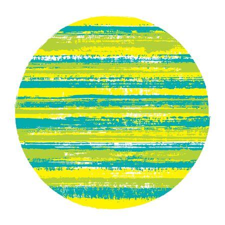 Forme géométrique de vecteur de cercle abrupt avec texture rayée de lignes horizontales de peinture. Bannière de disque avec texture de peinture ancienne. Badge rond logotype cercle avec fond grunge de rayures.
