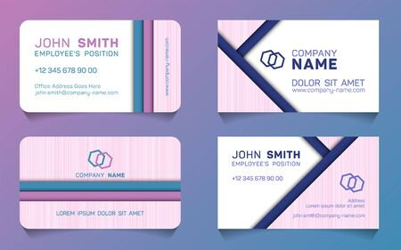 Horizontal business card minimal idea vector templates set. Personal business card graphic design with place for logo, company name, employees position, phone number, website and office address.  イラスト・ベクター素材