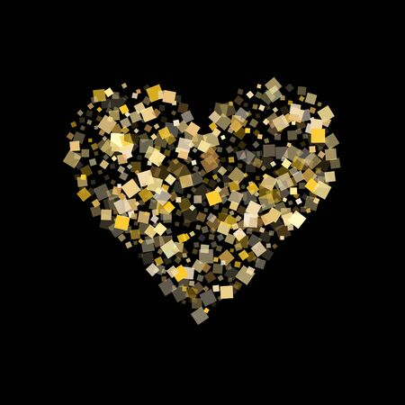 Metalic gold square confetti tinsels flying on black. Rich New Year vector sequins background. Gold foil confetti party particles isolated. Rhombus sparkles surprise backdrop.