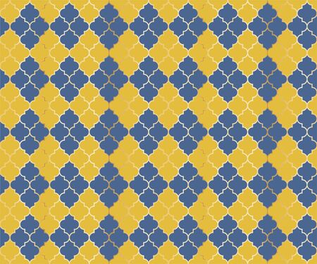 Eastern Mosque Vector Seamless Pattern. Argyle rhombus muslim textile background. Traditional mosque pattern with gold grid. Rich islamic argyle seamless design of lantern lattice shape tiles.